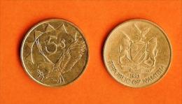 NAMIBIA 1993 ,circulated Coin , 5 Dollars,, Brass, Km5, C935 - Namibië