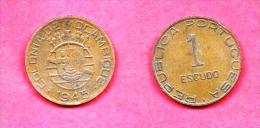 MOZAMBIQUE 1945, Circulated  Coin , 1 Esccudo, Bronze, Km74, C1689 - Mozambique
