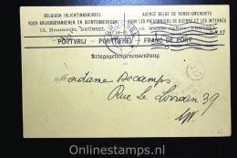 Belgisch Inlichtingsbureel Voor Krijgsgevangenen En Geinterneerden Brussel 1917, Postcard