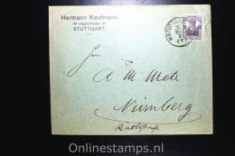Germany 1919 Cover Stuttgart To Nürnberg, Mi 106