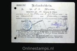 Germany 1917 Erlaubschein Lehrgang Für Offiziere