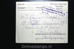 Germany 1918 Sep, Cover Complete Kriegsgefangenenlager Hamelen To Brussels Belgium - Briefe U. Dokumente
