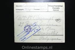 Germany 1918 , Cover Complete Kriegsgefangenenlager Hamelen To Brussels Belgium - Briefe U. Dokumente