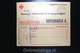 Germany 1917 , Cover Kriegsgefangenenlager Gütersloh To Moskauer Hilfskomitee Kopenhagen Denmark Red Cross Cover - Briefe U. Dokumente
