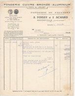 74 BONNEVILLE  FACTURE 1948  FONDERIE De FAUCIGNY  CUIVRE  A. FOISSY & J. ACHARD   - B12 - 1900 – 1949