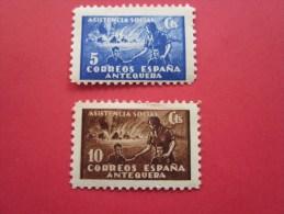 ASISTENCIA SOCIAL Coréros Espana Anteque 2 Timbre Stamp Label VIGNETTE ERINNOPHILIE Cinderellas Cenicientas Cenerretoles - Erinofilia