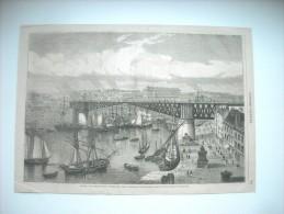 GRAVURE 1864. A BREST, LE GRAND PONT TOURNANT, RELIANT LE FAUBOURG DE LA RECOUVRANCE AU QUARTIER DE BREST. - Prints & Engravings