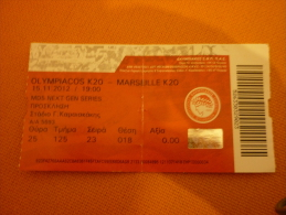 Olympiakos K20-Marseille K20 UEFA Next Gen Series Football Match Ticket Stub - Tickets D'entrée