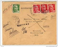 Gandon : Affranchissement Composé à 21F Sur Lettre Recommandée Provisoire De Nantes R.P. De 1948 - Postmark Collection (Covers)