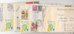 Très Beau Lot De 5 Lettres 1960 Avec Des Vignettes De L'Esperanto, WUPPERTAL-St ETIENNE/ 4257 - Esperanto