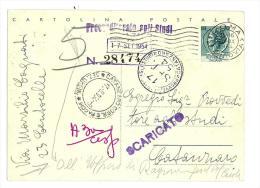 ITALIA REPUBBLICA - ANNO 1954 - 20 LIRE  SIRACUSANA  -  PER CATANZARO - Interi Postali