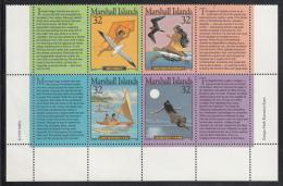 Marshall Islands MNH Scott #596 Block Of 4 + 4 Tabs 32c Island Legends - Marshall