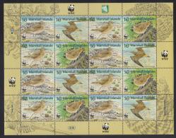 Marshall Islands MNH Scott #638 Sheet Of 4 Blocks Of 4 16c Bristle-thighed Curlew - WWF - Marshall