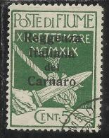 FIUME OCCUPAZIONE ITALIA ITALY 1920 SOPRASTAMPA OVERPRINTED REGGENZA ITALIANA DEL CARNARO CENT. 5  USED - 8. Occupazione 1a Guerra