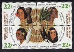 Marshall Islands MNH Scott #73a Block Of 4 Different 22c Island Women - Decade For Women - Marshall