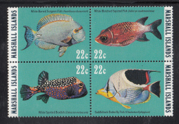 Marshall Islands MNH Scott #77a Block Of 4 Different 22c Reef And Lagoon Fish - Marshall