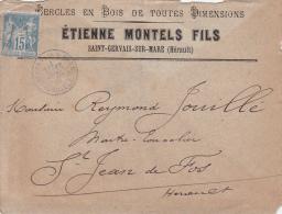 1884, Lettre, 15c Sage, HERAULT St GERVAIS  SUR MARE Pour  St JEAN DE FOS, CERCLES EN BOIS ETIENNE MONTELS/ 4288 - Marcophilie (Lettres)
