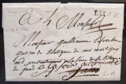 MARQUE LINEAIRE De LILLE                 14/8/1756                Indice  17 - Marcophilie (Lettres)