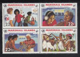 Marshall Islands MNH Scott #81a Block Of 4 Different 22c International Youth Year - Marshall