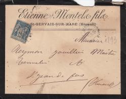 1884, Lettre, 15c Sage, HERAULT St GERVAIS  SUR MARE Pour  St JEAN DE FOS, RECEPICE CHEMIN DE FER DU MIDI/ 4289 - Marcophilie (Lettres)