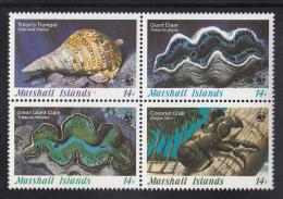 Marshall Islands MNH Scott #113a Block Of 4 Different 14c Triton's Trumpet, Giant Clams, Coconut Crab - Invertebrates - Marshall