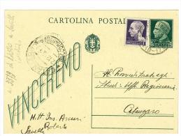 ITALIA REGNO - ANNO 1945  INTERO POSTALE VINCEREMO 15 CENT. Verde DA SAVELLI  PER CATANZARO - Entiers Postaux