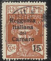 FIUME OCCUPAZIONE ITALIA ITALY 1920 SOPRASTAMPA OVERPRINTED REGGENZA ITALIANA DEL CARNARO CENT.15 SU 20 USED - 8. Occupazione 1a Guerra