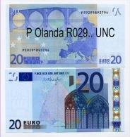 NOVITA´  EURONOTE BANCONOTA BILLET DA 20 EURO P OLANDA PAYS BAS R029.. FIRMA DRAGHI UNC - EURO