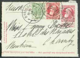 N°74-81 En Affranchissement Complémentaire Sur Entier Postal Carte-lettre 10 Centimes Grosse Barbe, Obl. Sc BRUGGE 1 Le - Stamped Stationery