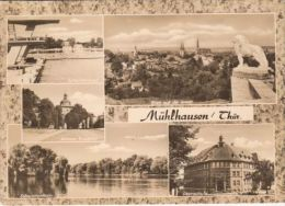 CPA MUHLHAUSEN- SWIMMING POOL, GATE, LAKE, BOATS, MANSION, PANORAMA - Muehlhausen