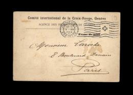 MILITARIA - FRANCHISE MILITAIRE - CROIX ROUGE - Agence Des Prisonniers De Guerre à GENEVE - Poststempel (Briefe)
