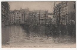 @ CPA INONDATIONS DE PARIS, CRUE DE LA SEINE, SQUARE TROUSSEAU, PARIS 75 - Inondations De 1910