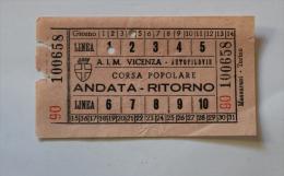 2 Billets Papier A.I.M VICENZA  AUTOFILOVIE Col Schnabel - Tramways