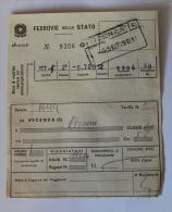 Billet Papier VICENZA-VERONA 1961Col Schnabel - Chemins De Fer