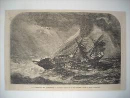 GRAVURE 1864. INDE. CATASTROPHE DE CALCUTTA. TROIS MATS ENGLOUTI SUR LA COTE DE MADRAS. - Prints & Engravings