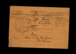 MILITARIA - FRANCHISE MILITAIRE - Bulletin De Santé D´un Militaire à TALENCE - Marcophilie (Lettres)