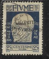 FIUME 1921 EFFIGIE D´ANNUNZIO SOPRASTAMPATO GOVERNO PROVVISORIO OVERPRINTED 25 CENT. TIMBRATO USED - 8. Occupazione 1a Guerra