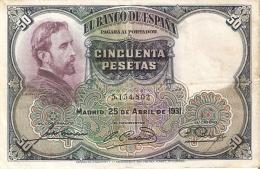 BILLETE DE 50 PTAS DE 1931 E. ROSALES SIN SERIE CALIDAD RC+   (BANKNOTE) - [ 1] …-1931 : Primeros Billetes (Banco De España)