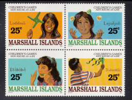 Marshall Islands MNH Scott #369a Block Of 4 25c Children's Games - Lodidean, Lejonjon, Etobobo, Didmakol - Marshall