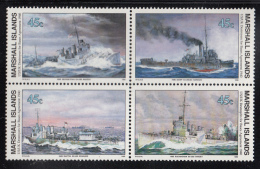 Marshall Islands MNH Scott #260a Block Of 4 45c UK/US Destroyers For Bases Agreement - World War II - Marshall