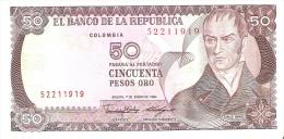 BILLETE DE COLOMBIA DE 50 PESOS DE ORO DEL AÑO 1986  (BANK NOTE) - Colombia