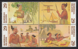 Marshall Islands MNH Scott #575a Block Of 4 29c Marshallese Life In The 1800s - Marshall