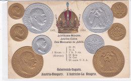 CARD MONETE GIUBILEO AUSTRIA -UNGHERIA CORONA IMPERIALE IN RILIEVO COME DA SCANNER   -FP-N-2-0882-19192 - Coins (pictures)