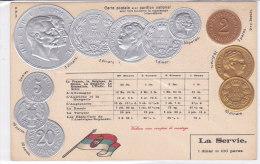CARD MONETE SERBIA BANDIERA IN RILIEVO COME DA SCANNER   -FP-N-2-0882-19194 - Monedas (representaciones)