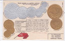 CARD MONETE TURCHIA BANDIERA IN RILIEVO COME DA SCANNER   -FP-N-2-0882-19197 - Monedas (representaciones)