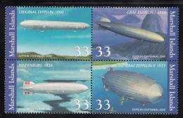 Marshall Islands MNH Scott #739 Block Of 4 33c Centenary Of First Zeppelin Flight - Marshall