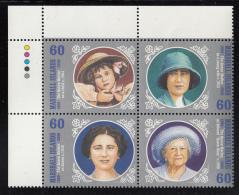 Marshall Islands MNH Scott #750 Block Of 4 60c Queen Mother's 100th Birthday - Marshall
