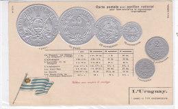CARD MONETE URUGUAY BANDIERA IN RILIEVO    COME DA SCANNER   -FP-N-2-0882-19206 - Monete (rappresentazioni)
