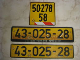 Vintage License Plates ISRAEL - Number Plates