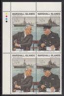 Marshall Islands MNH Scott #284a Upper Left Corner Block 29c Roosevelt, Churchill Atlantic Charter - World War II - Marshall